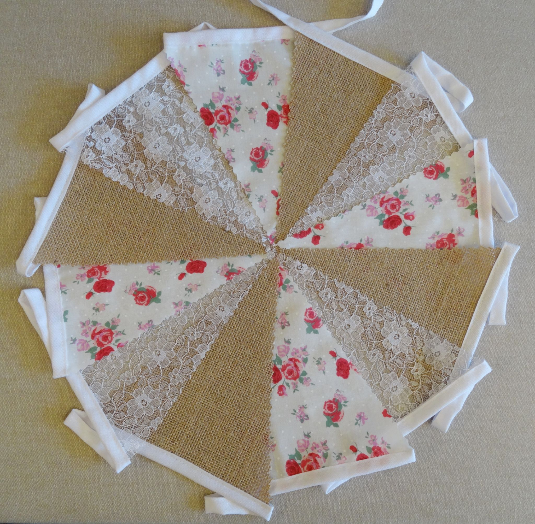 MINI HESSIAN LACE HANDMADE VINTAGE BUNTING PERSONALISED
