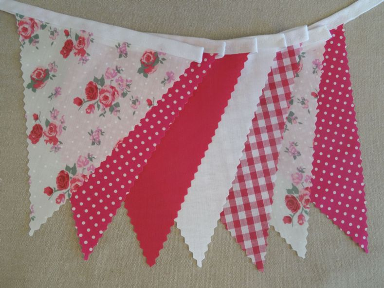 BUNTING Wedding - Pink & Red Roses, Cerise Pink, White, Spot & Gingham - 3m/10ft or 5m/16ft